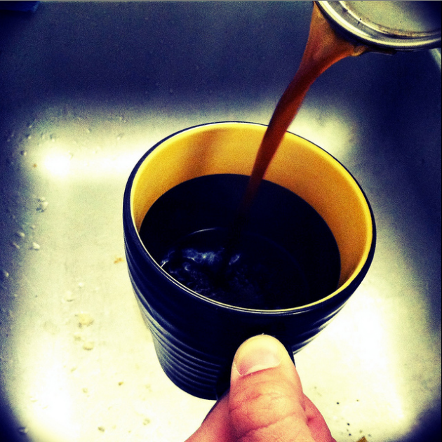 Photo a Day - Making a cup of the coffee I roasted Monday