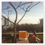 Morning coffee in yellow